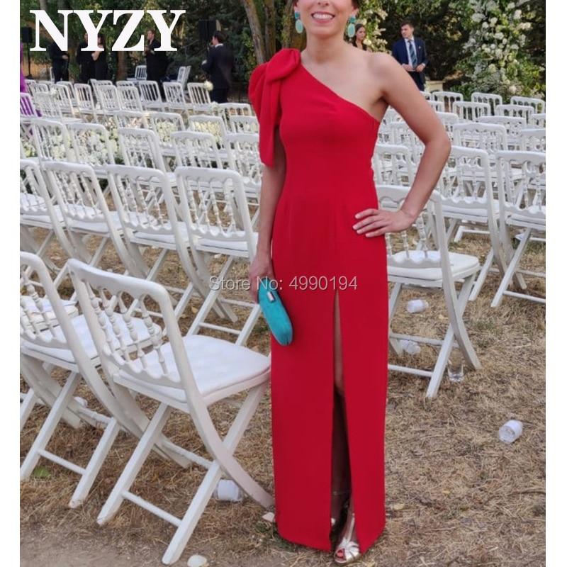 Robe de soirée rouge NYZY E214 haute fente une épaule manches courtes robes de soirée fête de bal célébrité tapis rouge Abendkleider