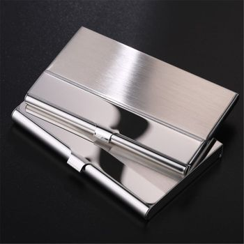 Pocket Stainless Steel & Metal Business Card Holder Case ID Credit Wallet Silver цена 2017