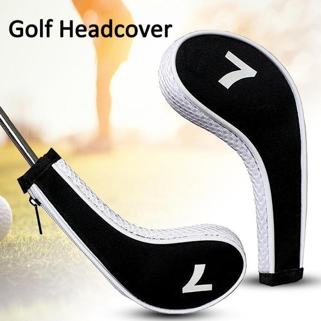 12Pcs Zippered Neoprene Golf Club Iron Cap Set Golf Headcover Protection Case Golf Training Aids Accessories With Number 2
