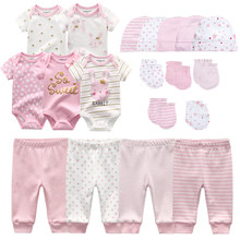 0-6 Months Newborn Set Baby Boy Clothes Suit Jumpsuits+Pants+Hat+Gloves Infant Girl Birth Outfit ropa bebe Onsies Sets Summer