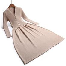 Woman elegant Autumn Winter sweater Dress Rib Women Big Swing Thick Dress Sweater Full Sleeve long A-Line button robe Knit Dress button front colorblock striped rib knit dress