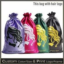Bags Wigs Package Storage-Bag Bundle Drawstring-Pouch Virgin-Hair Silk 10pics/Lot Luxury