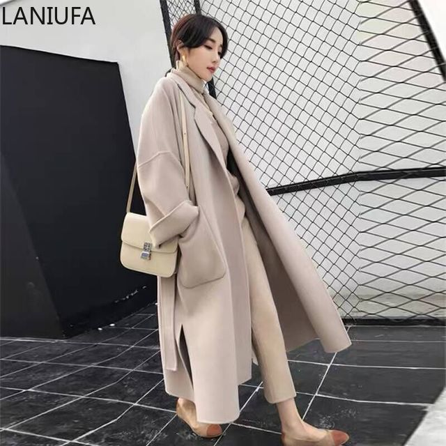 Autumn Winter Casual Coat Women Wool Blends Coats women Female Jacket Winter Woman Coat Warm Wool Long Women Coat mujer P125