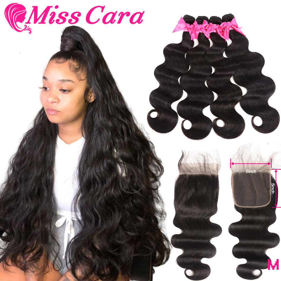 Miss Cara Malaysian Body Wave Bundles With 5x5 Closure 100% Human Hair 3/4 Bundles With Closure 5X5 Inches Closure With Bundles