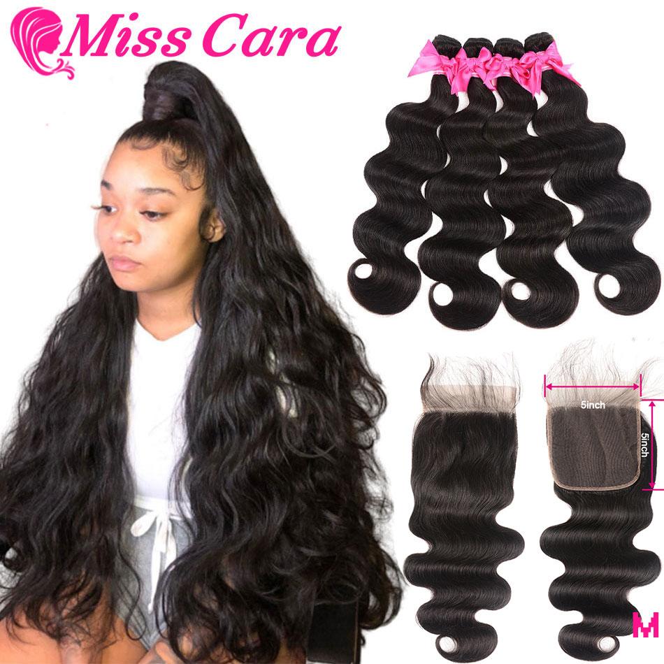 Miss Cara Malaysian Body Wave Bundles With 5x5 Closure 100% Human Hair 3/4 Bundles With Closure 5X5 Inches Closure With Bundles