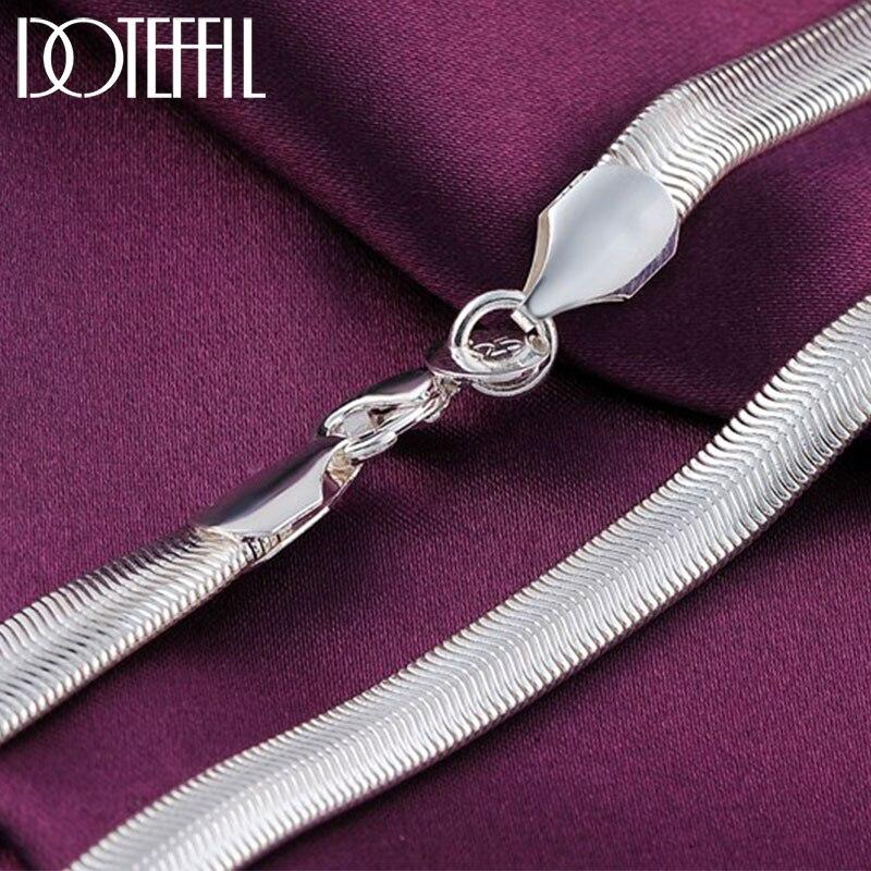 Doteffle-collier en argent Sterling 925, chaîne en serpent plat, 16/18/20/22/24 pouces, 6mm, bijou breloque de fête de mariage pour femmes et hommes