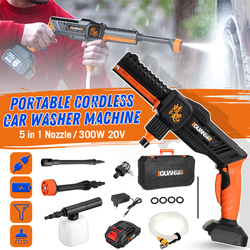 GUANXIN Rechargeable Washing Pump 20V Cordless Car Washer Mashine 24-70 BAR High Pressure Nozzle Hose Cleaner+2500mAh Battery