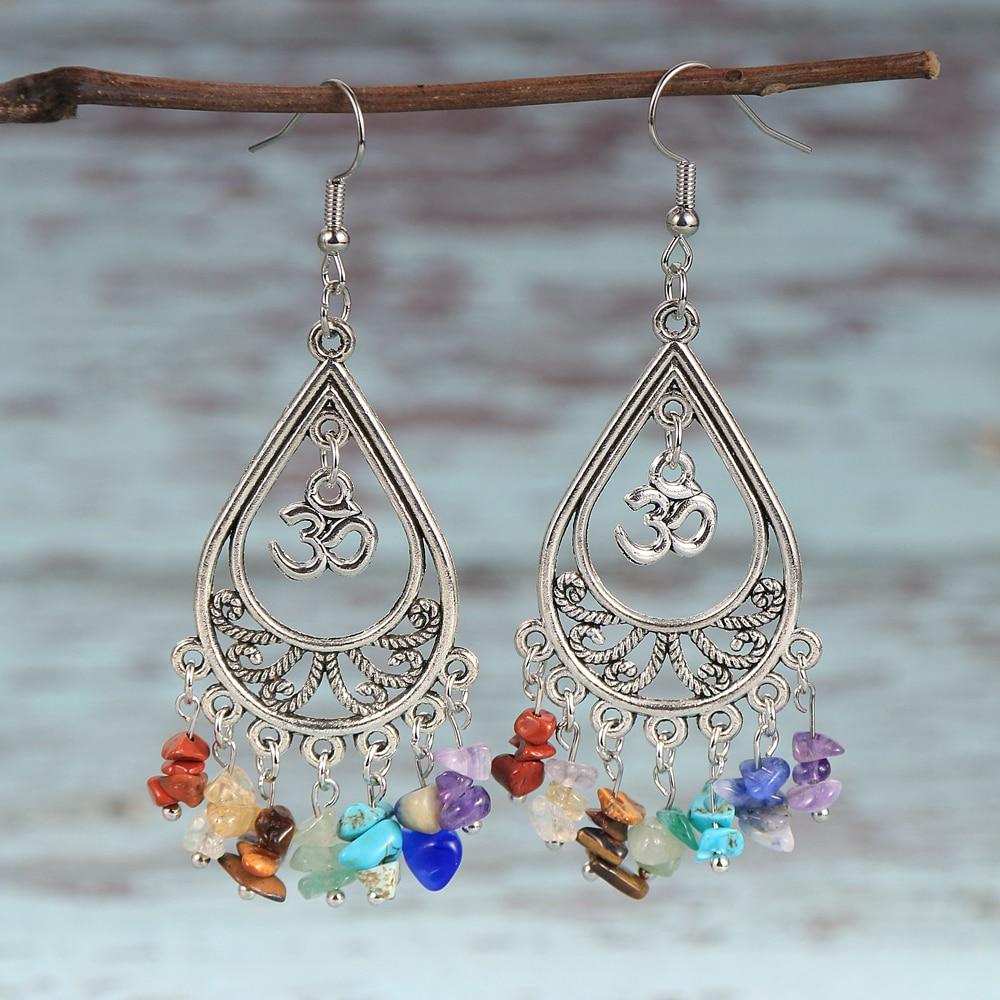 Women Natural Stone 7 Chakras Chip Gravel Earrings Metal Dorp Dangled Earring Hoop Yoge Healing Reiki OM Charm Hanging Jewelry