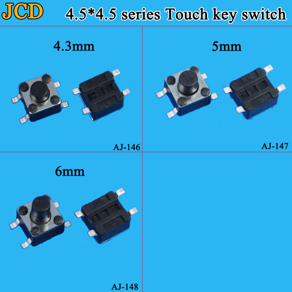Jcd 1 Buah SMD Switch 4.5*4.5*4.3 MM 4.5*4.5*5 Mm 6 Mm 4.5X4.5 4Pin Taktil Kebijaksanaan Push Button Micro Switch Self-Reset Switch