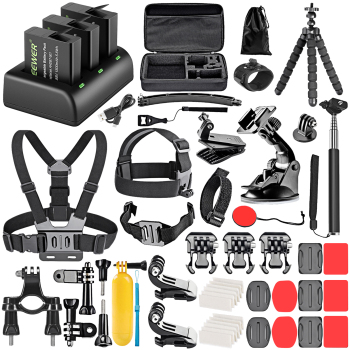 Neewer 50-in-1 Action Camera Accessory Kit with Battery Charger Set,Compatible with GoPro Hero 5 Black/Hero(2018)/Hero 6/Hero 7