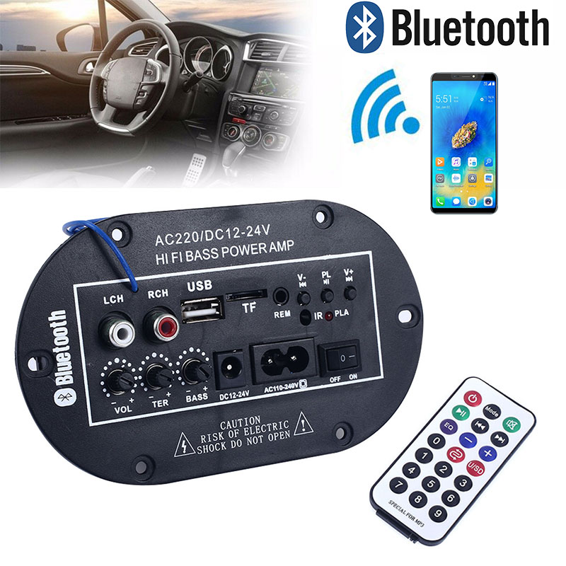 8inch Bluetooth Amplifier TF/USB/Bluetooth V5.0+BR+EDR Entertainment Systems Amplifiers Car Amplifier 12/24/110-240V
