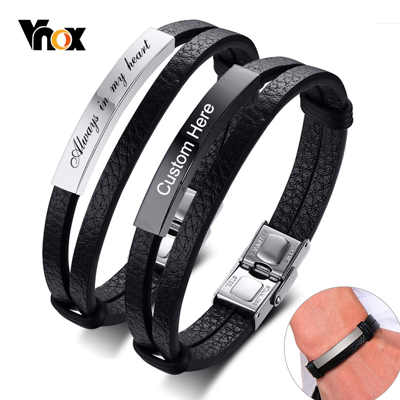 Vnox Customize Leather Bracelets For Men Layered Stainless Steel ID Bangle Casual Wristband Personalized Gift To Him Husband