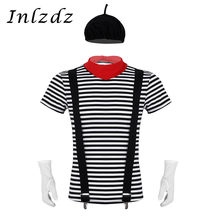 Mens French Mime Artist Circus Halloween Carnival Fancy Cosplay Costume Outfit T-shirt with Beret Red Scarf Suspender and Gloves(China)