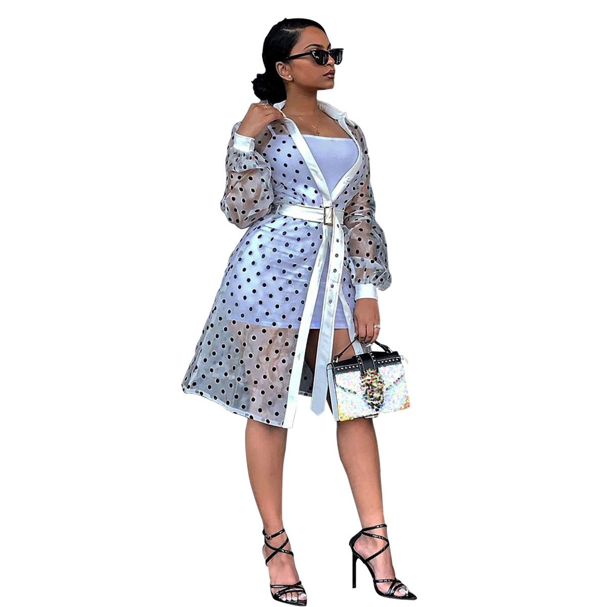 Pu Leather Patchwork Polka Dots Print Long Coat Shirt Dress Casual Belt Turn Down Collar Full Lantern Sleeve Trench Coat