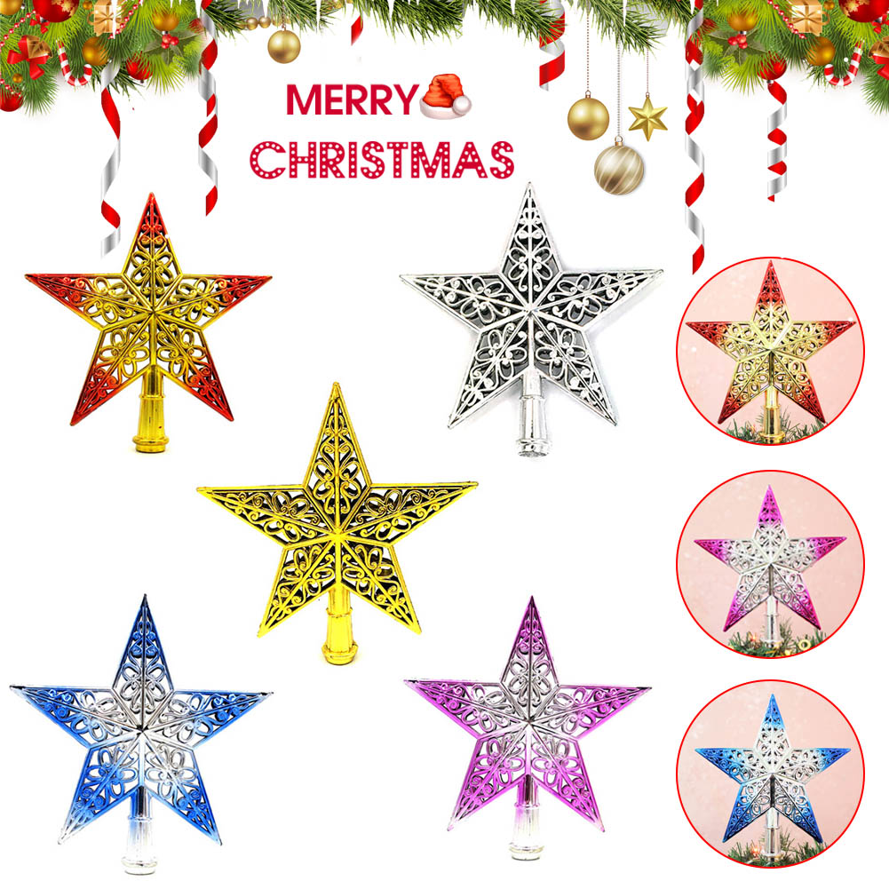 Silver Blulu Glittered Christmas Tree Topper 10 Inch Metal Star Treetop Xmas Hollow-Out Star Topper for Christmas Tree Decoration