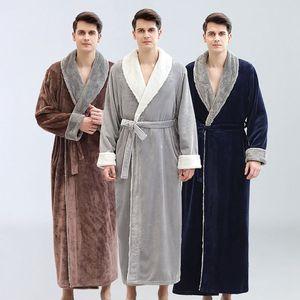 Yukata męska jesień i zima flanelowe miłośników koszula nocna męska grube szlafroki domu piżamy 2019