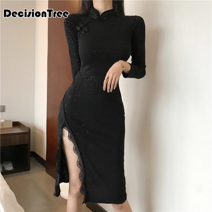 2020 Chinese Dress Long Sleeve Sexy Qipao Dress High Split Women Chinese Style Mandarin Collar Bodycon Dress Nightclub Cheongsam