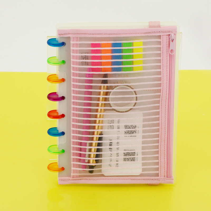 Color Disc-bound Notebook System Cover Storage Bag File Holder Stationery Pencil Pen Bag Mushroom Planner Accessories A5B6 Size