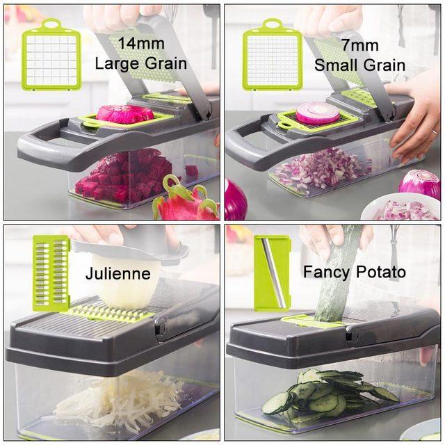 8In1Multifunctional Vegetable Cutter Potato Slicer Carrot Grater Kitchen Accessories Gadgets Steel Blade Kitchen Tool овощерезка 3
