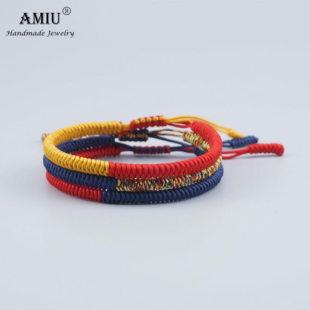 AMIU 3PCS Tibetan Jewelry Buddhist Good Lucky Charm Tibetan Bracelets & Bangles For Women And Men Handmade Knots Rope Bracelet