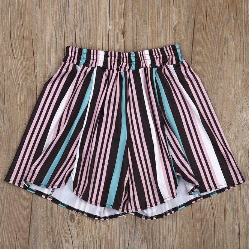 Fashion Women Summer Casual Shorts High Waist Striped Short