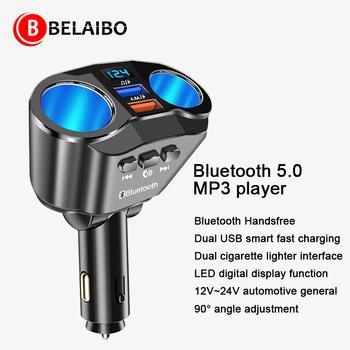 Samochodowy odtwarzacz mp3 Bluetooth modulator Fm nowe samochodowe bezprzewodowe głośniki z Bluetooth z Usb szybki Adapter do ładowania gniazda napięcia tanie i dobre opinie Kiomic CN (pochodzenie) ABS alloy 0 09kg Bluetooth 5 0 hands-free call dual USB fast charging dual cigarette 76*110MM