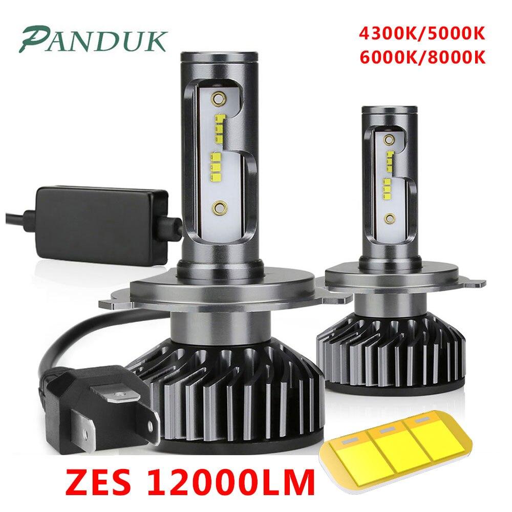 PANDUK Canbus H4 H7 LED Bulb 4300K 6000K 8000K H1 H3 H11 9005 9006 Mini Car Headlight ZES 72W 80W 12000LM Auto Fog Car Light 12V
