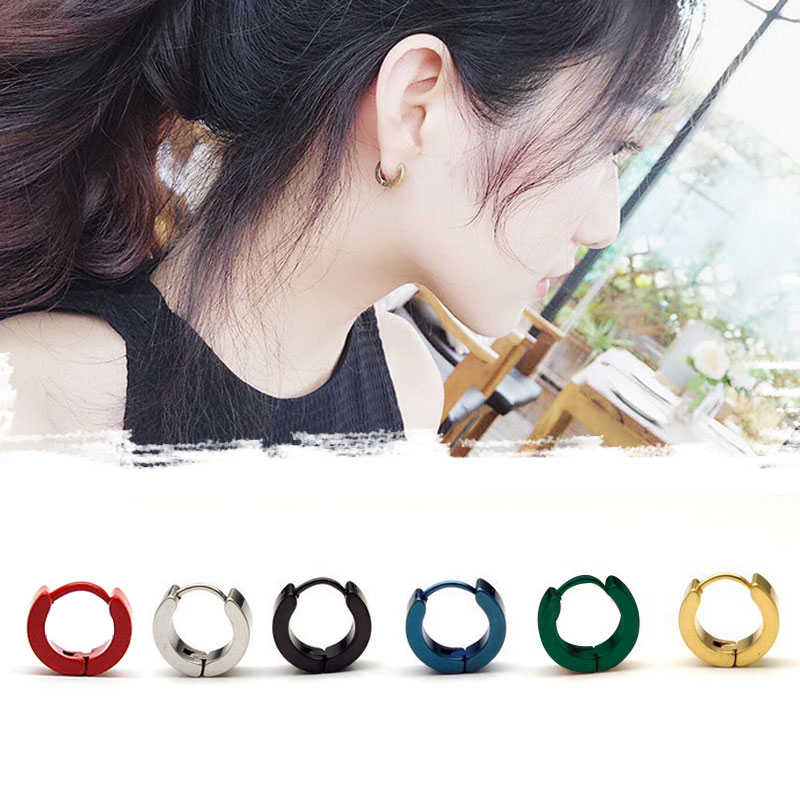 Hot Sell Fashion Small Hoop Earrings Silver Gold Stainless Steel Round Earring Women Men Acrylic Ear Rings Clip Colored Circle