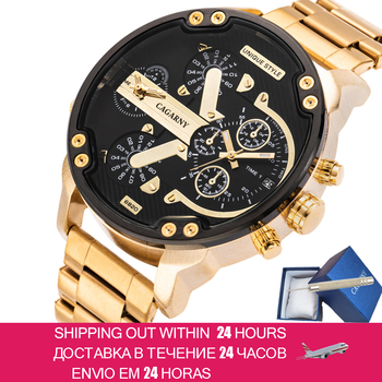 Hot Fashion Mens Watches Top Brand Luxury Cagarny Dual Display Military Relogio Masculino Gold Steel Quartz Watch Men Male Clock men watches cagarny rose gold case men s wristwatch business male clock quartz watch dual time zones military relogio masculino