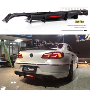 Labio trasero de ABS de fibra de carbono con luz LED para Volkswagen Passat CC VW CC, alerón 2009-2017, difusor de aletas estilo tiburón, parachoques Guar