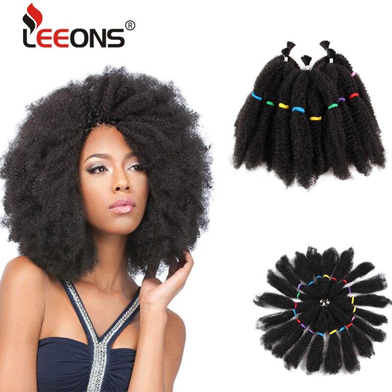 Leeons-trenzas de ganchillo Afro rizado a granel, pelo de 12 pulgadas, pelo trenzado sintético de ganchillo para mujeres negras, 5 uds.