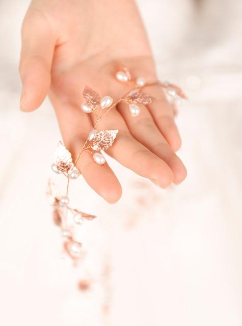 Fxmimior  Bridal Handmade Leaf Pearls Headband Headpiece wedding rose gold hair vine Wedding Bridal Hair Accessories 3