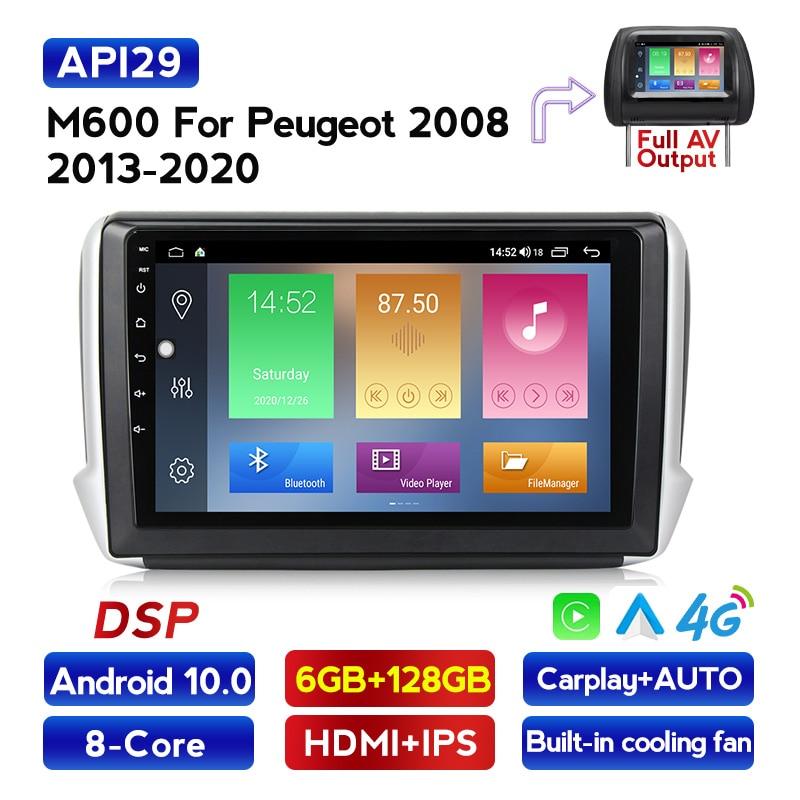 Android 10 rádio rds para peugeot 2008 jogador multimed carro 2015 2016 2017 2018 com rádio wifi de áudio gps navigator carplay