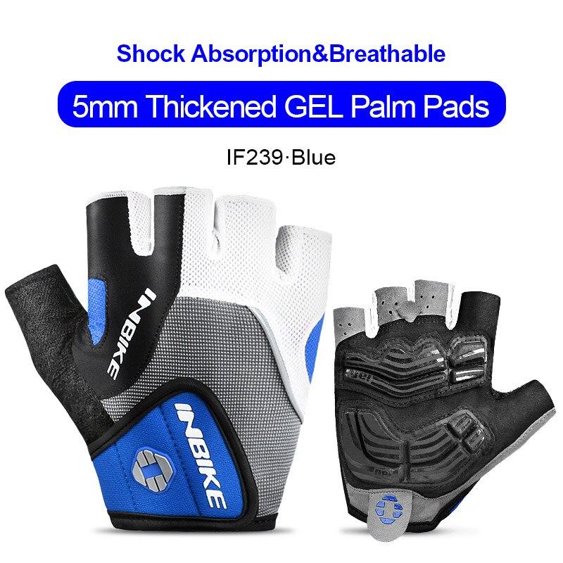 IF239-Blue-INBIKE Summer Men Women Half Finger Shockproof Cycling Gloves