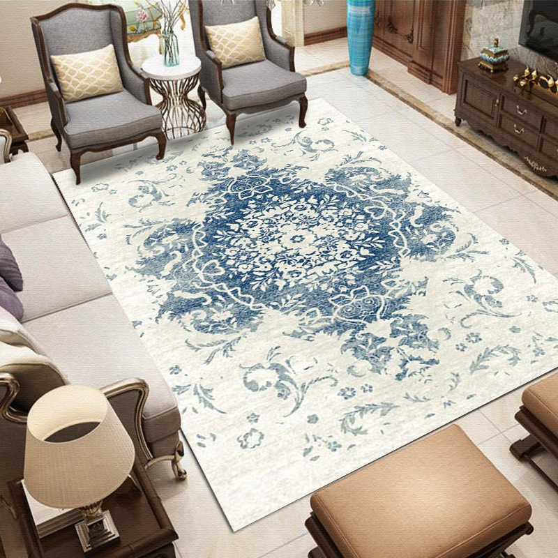 Living Room White And Blue Carpet