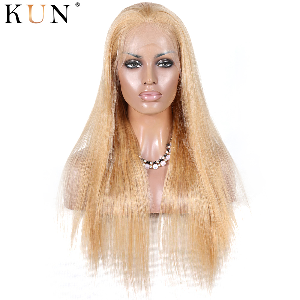 #27 Strawberry Blonde Silky Straight Lace Front Human Hair Wigs Chinese Remy 13x4 13x6 Lace Front Wig 150 180 Density PrePlucked