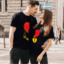 Couple Tshirt Men and Women Lovers Key Print Short Sleeve Sweet  Graphic  Tees Tops Casual Streetwear 2021 Valentine's Clothes