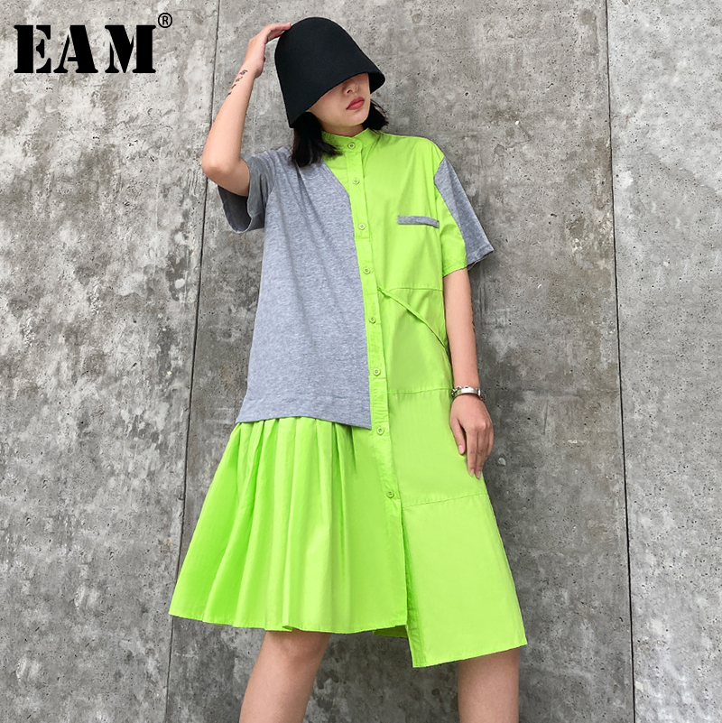 [EAM] Women Drawstring Pleated Shirt Dress New Stand Collar Short Sleeve Loose Fit Fashion Tide Spring Summer 2020 1T765