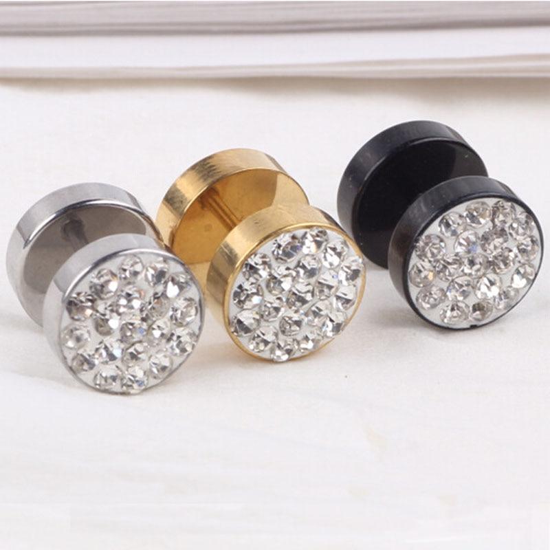 CR-77 New Fashion Round Shine Stainless Steel Austrian Zircon Earrings Diameter Stud Earring For Men Women Design Jewelry