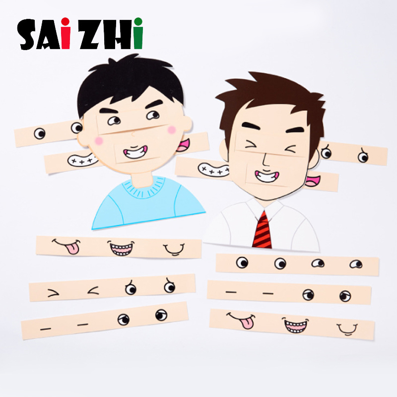 Saizhi Children DIY Facial Expression Design Toys Handmade Paper Board Creative Kids Educational Toys For Children Learning Toys
