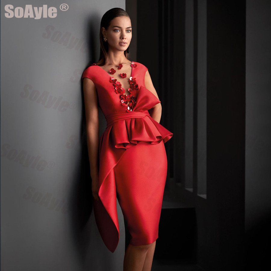 SoAyle Evening Dress 2020 Wide V-neckline 3d Flowers Pencil Cocktail Party Dress Asymmetrical Peplum Red Satin Godmother Dress