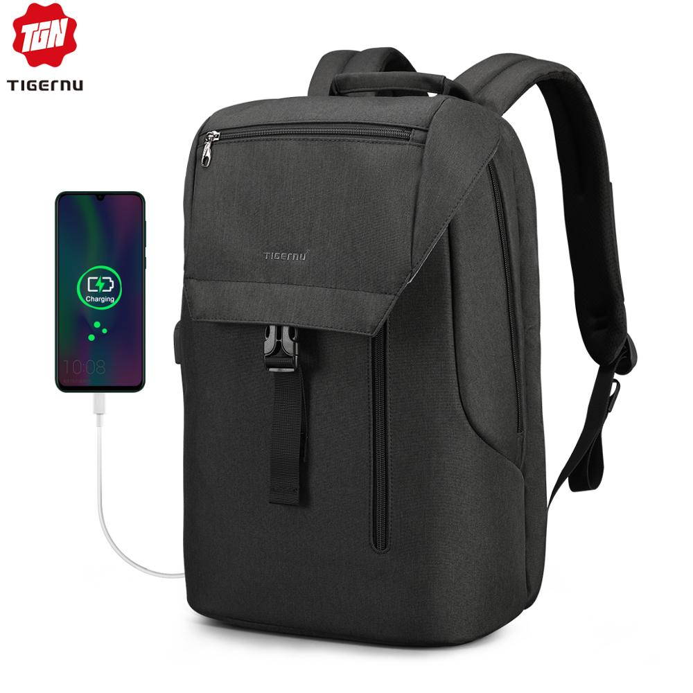 Tigernu New Arrival Male Mochila With Flap  15.6 Inch Anti Theft Laptop Men Backpacks USB Charging Cool School Backpack For Boys