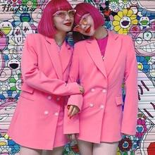 Hugcitar 2019 long sleeve pink solid blazer dress autumn winter women streetwear fashion windbreak outfits tops