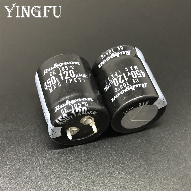 3Pcs 120uF 450V MXC Series 25x30mm 450V120uF Snap-in PSU Aluminum Electrolytic Capacitor image