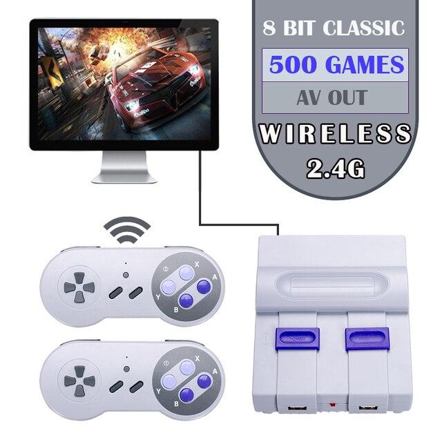 Mini ręczny telewizor z dostępem do kanałów i HDMI gra wideo konsola do gier podwójny 2.4G bezprzewodowy kontroler do gier 8 Bit Retro odtwarzacz z 500 w 1 klasyczne gry