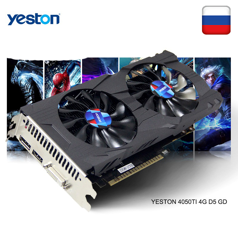 Yeston GeForce <font><b>GTX</b></font> 1050Ti GPU <font><b>4GB</b></font> GDDR5 128 bit Gaming Desktop computer PC support Video Graphics Cards <font><b>Ti</b></font> image