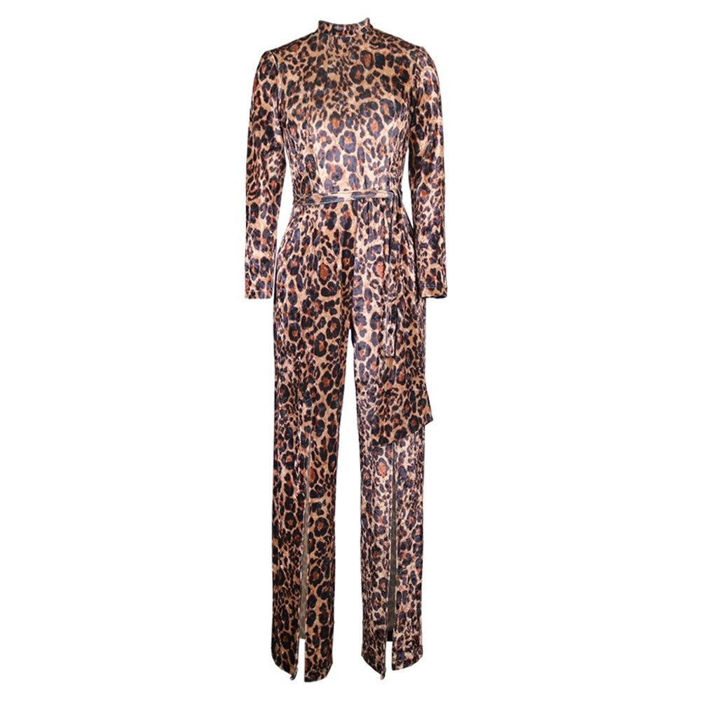Sexy Leopard Color Velvet Jumpsuits for Women Long Sleeve High Slit Wide Leg Waist Belts Overalls Fall Clothes Fashion Clubwaar