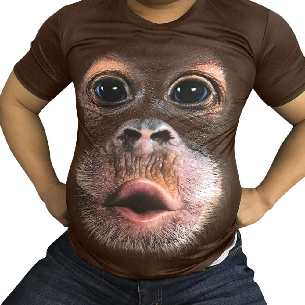 2018 Men's T Shirt 3D Printed Animal Monkey Tshirt Short Sleeve Funny Design Casual Tops Tees Male Summer T-shirt US Size S-3XL