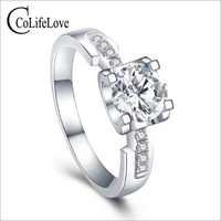 CoLife Jewelry 925 Silver Moissanite Engagement Ring 1ct VVS1 Grade Moissanite Ring Silver Moissanite Jewelry Gift for Woman