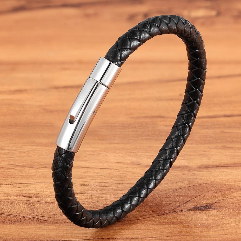 Bracelet en acier inoxydable cuir tresse 1